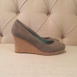 Boden suede tan/Gray cork Wedge heel size 37